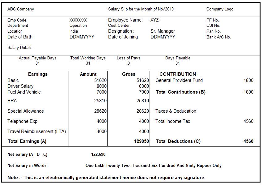 Format of Salary Slip or Payslip
